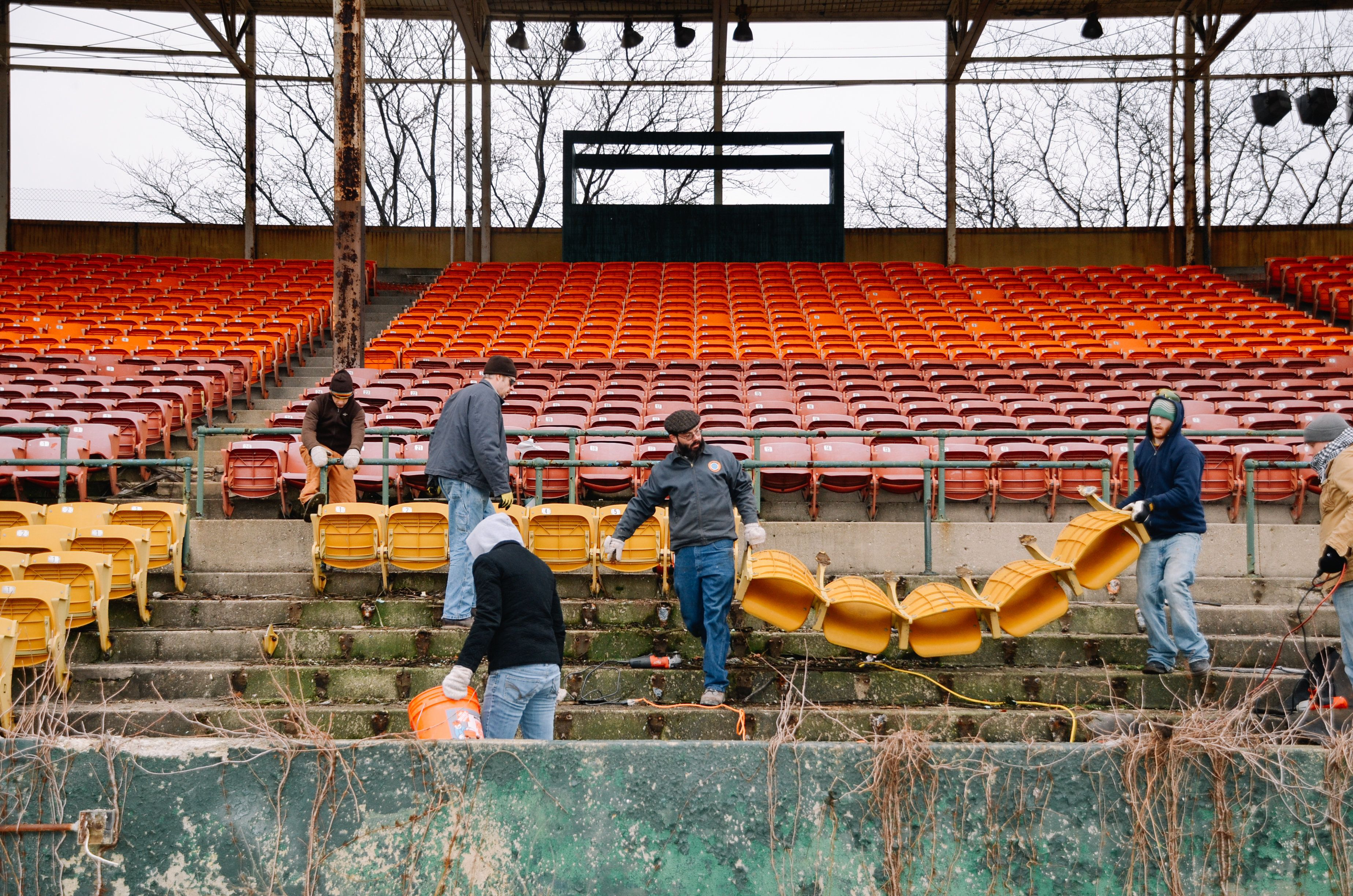 The nonprofit People for Urban Progress salvages material from old stadiums and turnsit into durable products and urban