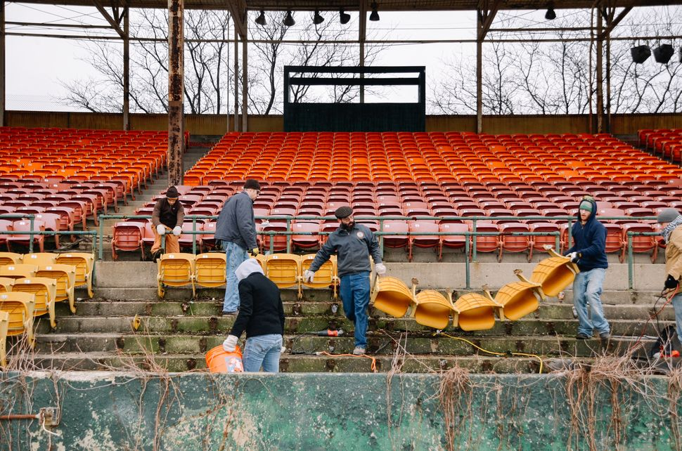 The nonprofit People for Urban Progress salvages material from old stadiums and turns it into durable products and urban