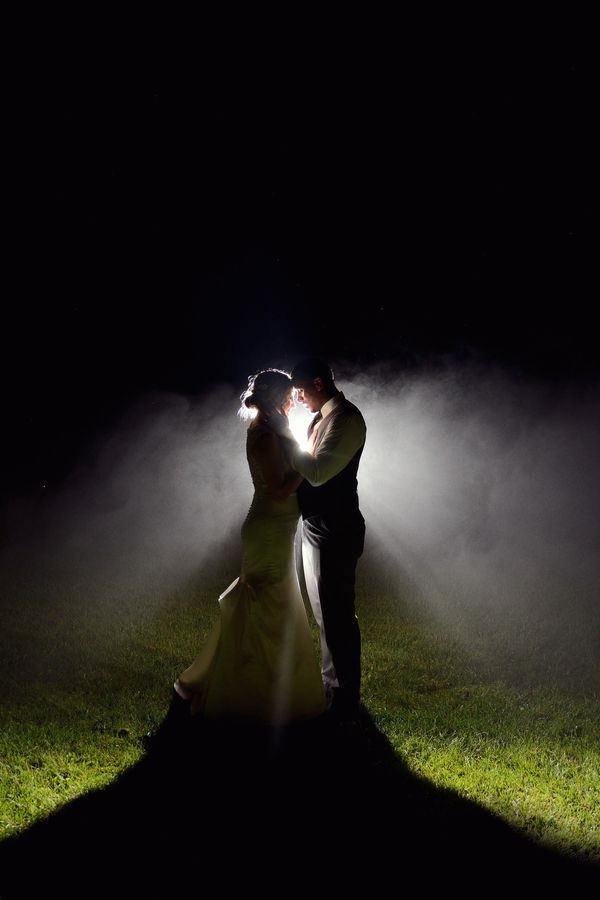 """""""Sometimes rain on a wedding day is a good thing, especially when it leads to amazing fog in the evening for night photos! Am"""
