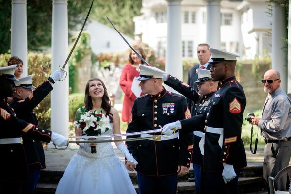 """""""Ariel and James, who is in the Marines, got married in Barre, Massachusetts on this great Saturday morning."""" — <i>Chri"""