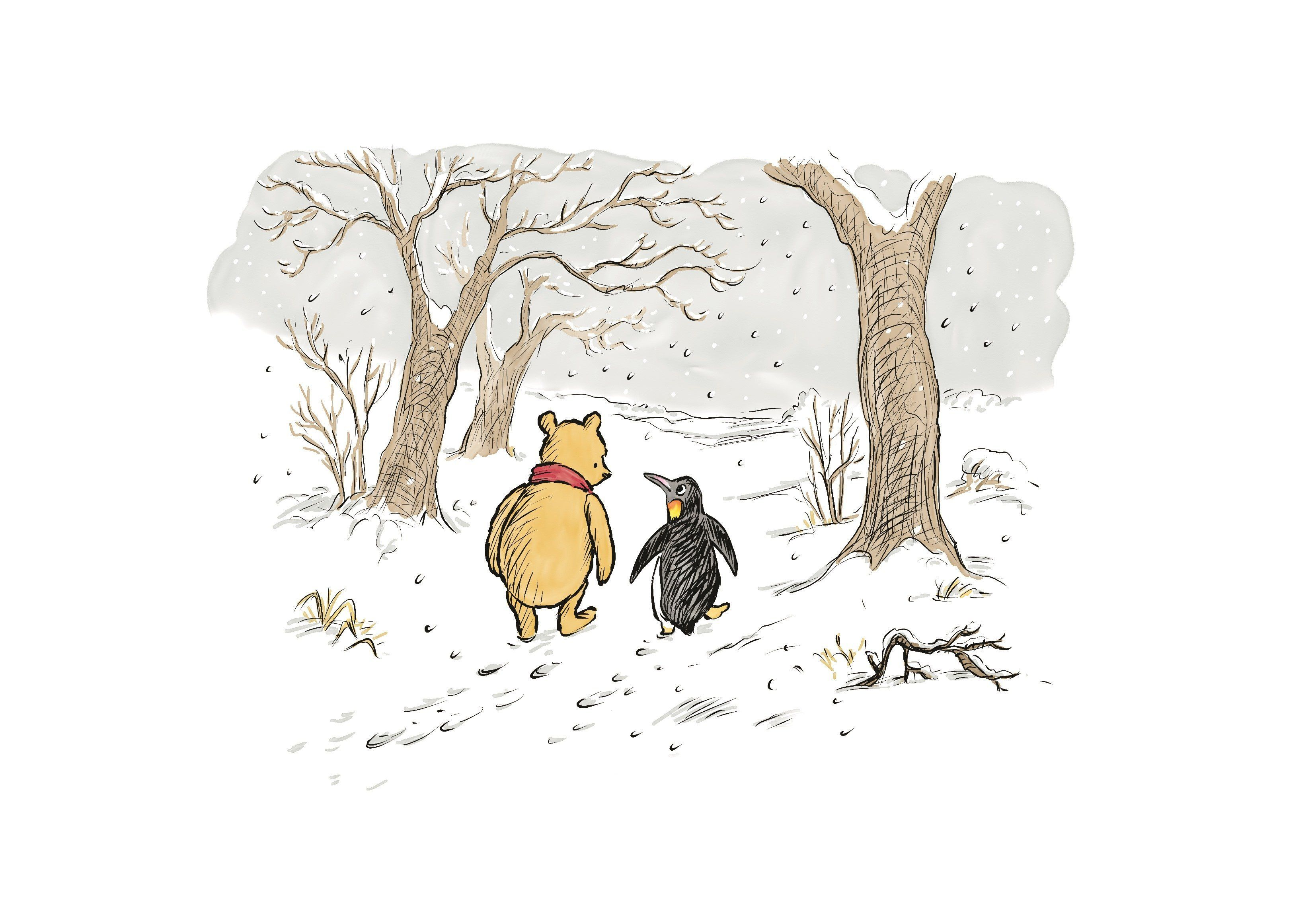 Winnie-the-Pooh & Penguin, from<i>The Best Bear in All the World,</i>illustrated by Mark Burgess.
