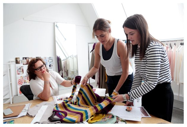 Yasmin Le Bon working with (L)Jayne Cady, design director at Winser London, and (R) Katie Noakes,...