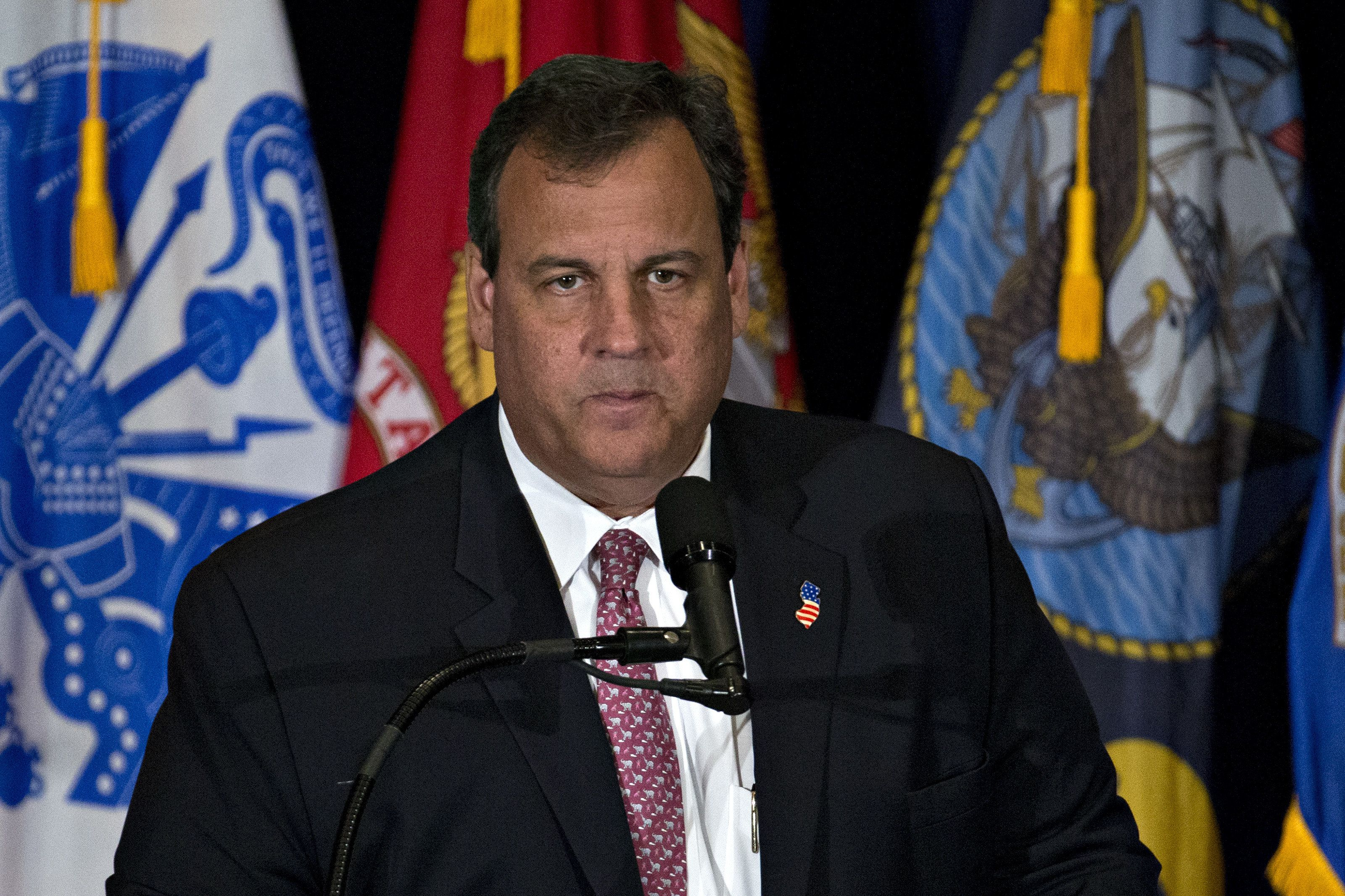 Chris Christie, governor of New Jersey, pauses while speaking during a veterans reform campaign event with Donald Trump, presumptive 2016 Republican presidential nominee, not pictured, in Virginia Beach, Virginia, U.S., on Monday, July 11, 2016. Trump said he expects to choose his running mate for the GOP presidential ticket in the next three or four days and is leaning toward a political pick to balance out his outsider status, according to a Monday interview with the Washington Post. Photographer: Andrew Harrer/Bloomberg via Getty Images