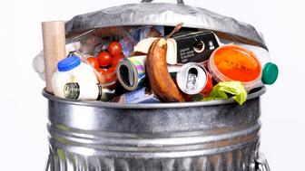 Out of date rotting food in dustbin
