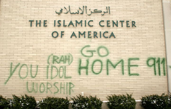 Anti-Muslim graffiti defaces the Islamic Center of America in Dearborn, Michigan, on Jan. 23, 2007.
