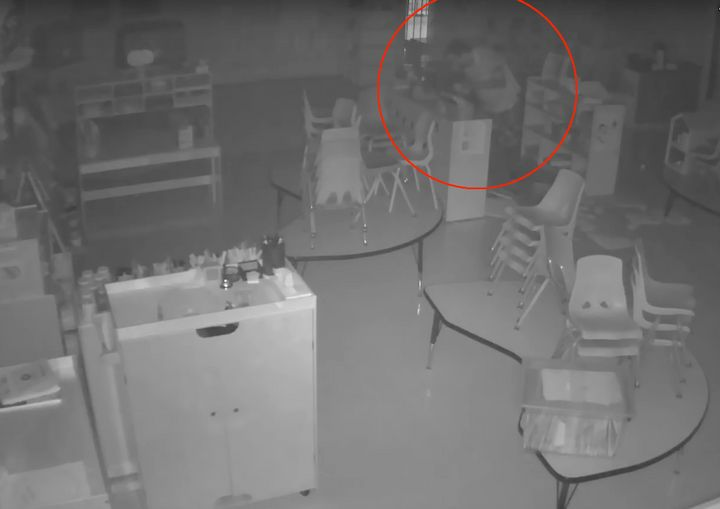 A dimwitted burglar was filmed clearing a toy cash register of all its play money during a break-in earlier this month in southern California.