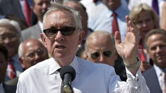 US Senate Minority Leader Harry Reid speaks during an event with Congressional Democrats to urge Republican lawmakers to take action on unfinished issues on September 8, 2016 at the East Front steps of the US Capitol in Wasington, DC. / AFP / MANDEL NGAN        (Photo credit should read MANDEL NGAN/AFP/Getty Images)