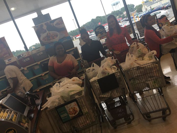 Puryear with a few friends after buying groceries.