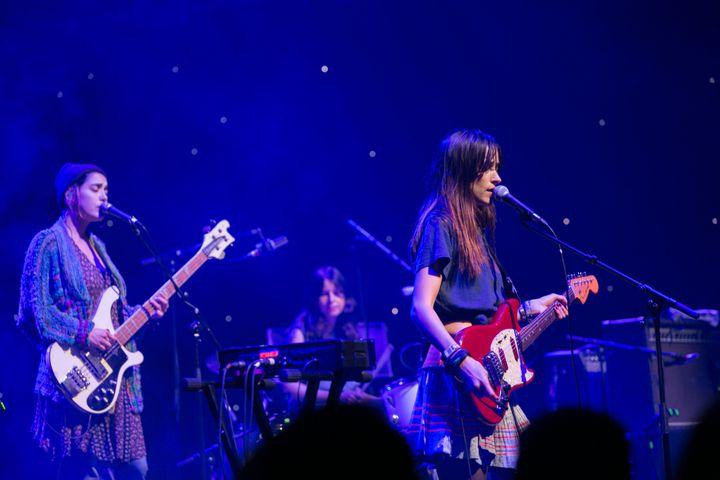 Jenny Lee Lindberg, Stella Mozgawa and Theresa Wayman of Warpaint perform on Aug.23 in Dublin, Ireland.