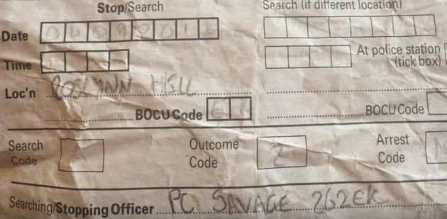 The Stop and Search form which shows PC Savage attended the incident