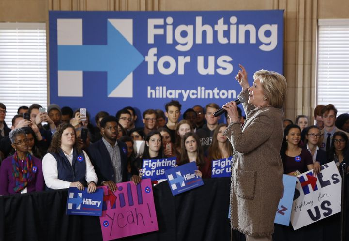 Democratic U.S. presidential candidate Hillary Clinton (R) appears at a campaign rally at the Old City Council Chambers in At
