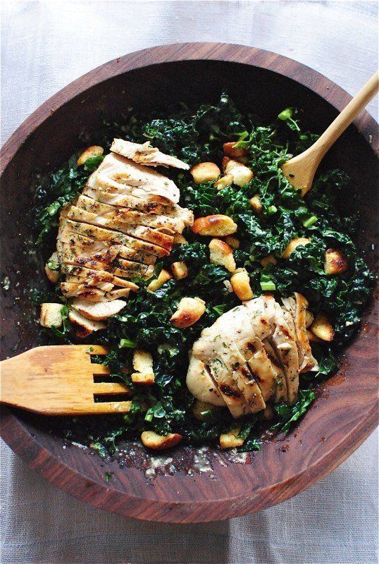 "<strong>Get the <a href=""http://bevcooks.com/2015/02/kale-caesar-salad-with-grilled-chicken/"" target=""_blank"">Kale Caesar Sal"
