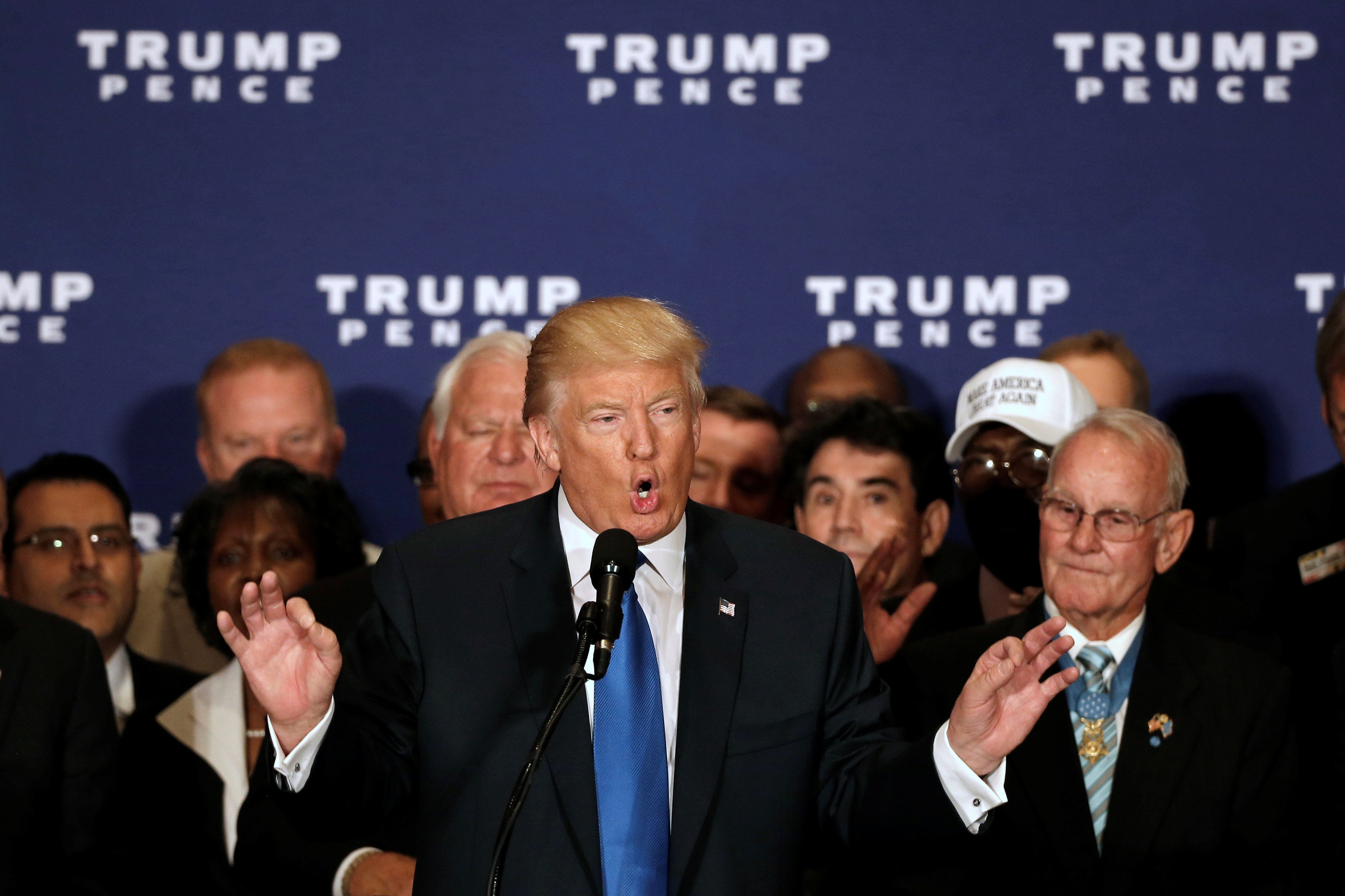 Republican presidential nominee Donald Trump states that he believes U.S. President Barack Obama was born in the United States at a campaign event at the Trump International Hotel in Washington, D.C., U.S., September 16, 2016.  REUTERS/Mike Segar