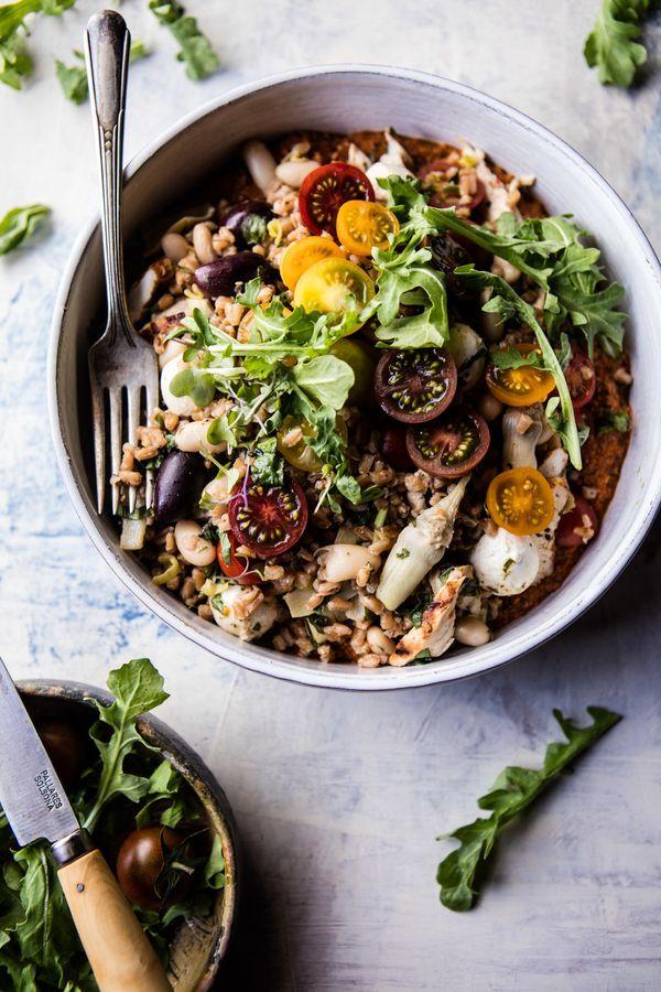 """<strong>Get the <a href=""""http://www.halfbakedharvest.com/mediterranean-chicken-and-farro-salad/"""" target=""""_blank"""">Mediterranea"""
