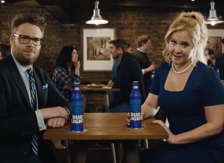 Seth Rogen and Amy Schumer promote Bud Light ahead of the 2016 election