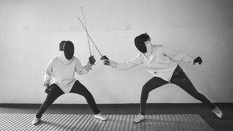 Minors incarcerated at a nearby prison participate in a match during a fencing session at a studio in the city of Thi�s, Senegal on April 29, 2015. Supported by OSIWA, organisation 'Pour un sourire d'enfant'  has implemented the sport of fencing as a form of restorative justice in a minor's prison for males and females in the city of Thi�s, Senegal. This innovative judicial method works as a restorative rather than punitive approach to justice. Fencing is an effective method for helping incarcerated young people build self-confidence and respect (both for themselves and others), and engender discipline and determination.