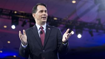 Scott Walker, governor of Wisconsin and former 2016 Republican presidential candidate, speaks during the American Conservative Unions Conservative Political Action Conference (CPAC) meeting in National Harbor, Maryland, U.S., on Thursday, March 3, 2016. CPAC runs until March 5 with the five remaining 2016 Republican presidential candidates speaking. Photographer: Andrew Harrer/Bloomberg via Getty Images