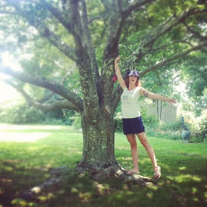 Me, celebrating a beautiful tree — Martha's Vineyard 2012