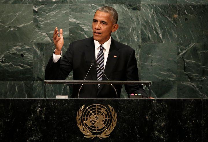 U.S. President Barack Obama addresses the United Nations General Assembly in New York on Sept. 20, 2016.