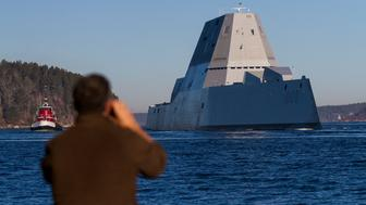 PHIPPSBURG, ME - DECEMBER 7: The U.S. Navy's newest destroyer, Zumwalt, sails down the Kennebec River toward the Atlantic for a series of sea trials after leaving Bath Iron Works on Monday morning. (Photo by Ben McCanna/Portland Press Herald via Getty Images)