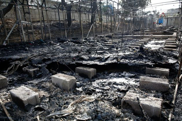 Moria lies in ruins after a night of riots and an inferno that destroyed much of the