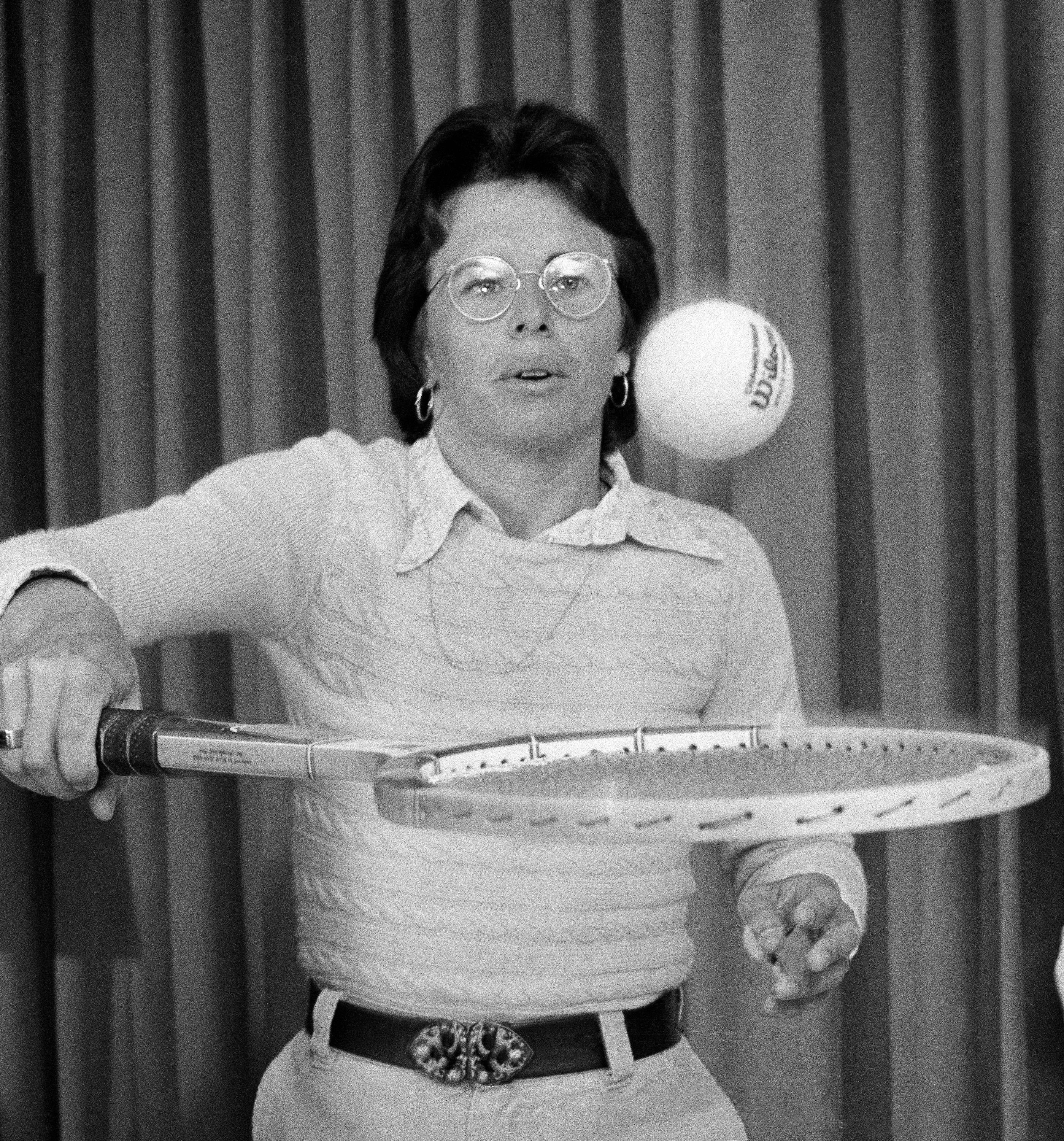 Billie Jean King, who did her thing against Boby Riggs is shown in Philadelphia Monday, Sep. 24 1973 as she came here to kick off the World Team Tennis League in which she's scheduled to be player-coach of the Philadelphia team. (AP Photo/wgi)