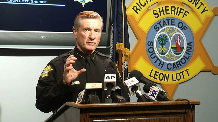 Richland County Sheriff Leon Lott speaks about police brutality at Spring Valley High School in October 2015.