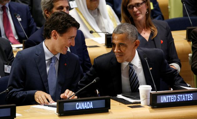 U.S. President Barack Obama talks with Canadian Prime Minister Justin Trudeau during the United Nations...