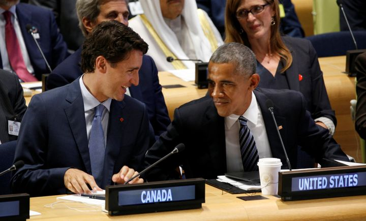U.S. President Barack Obama talks with Canadian Prime Minister Justin Trudeau during the United Nations General Assembly on&n