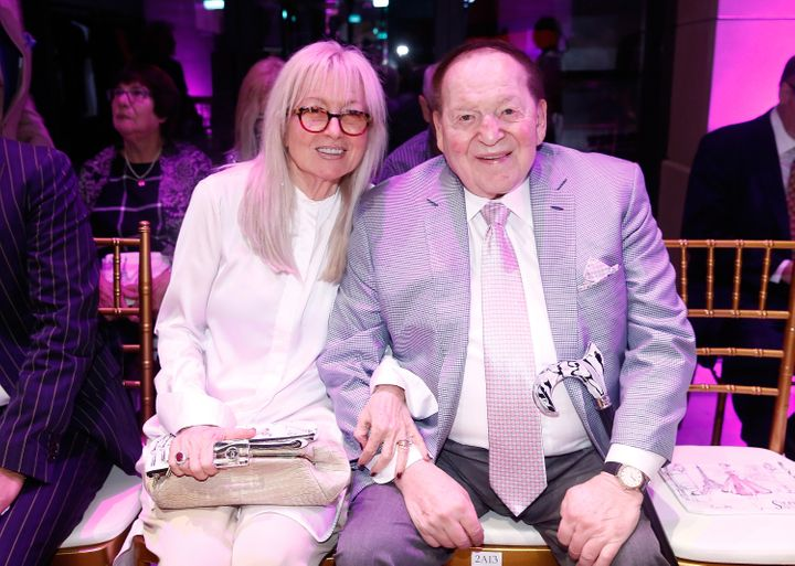 Sheldon and Miriam Adelson gave $20 million to a super PAC run by former aides to Senate Majority Leader Mitch McConnell.