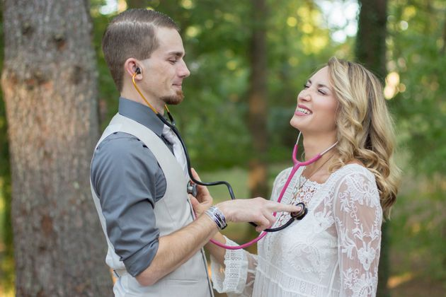 Nurses Chelsea Tanner and Richard Harkleroad played around with their stethoscopes during the