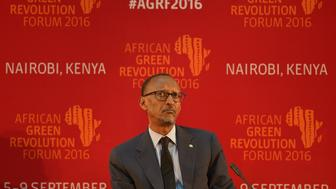 Rwanda's president Paul Kagame take part in a Heads of State session on September 7, 2016 during the opening ceremony of the African Green Revolution Forum (AGRF) 2016 at the UN headquarters in capital, Nairobi.  / AFP / TONY KARUMBA        (Photo credit should read TONY KARUMBA/AFP/Getty Images)
