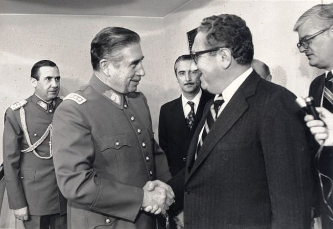 Henry Kissinger meets with Augusto Pinochet in  Chile, June 1976.