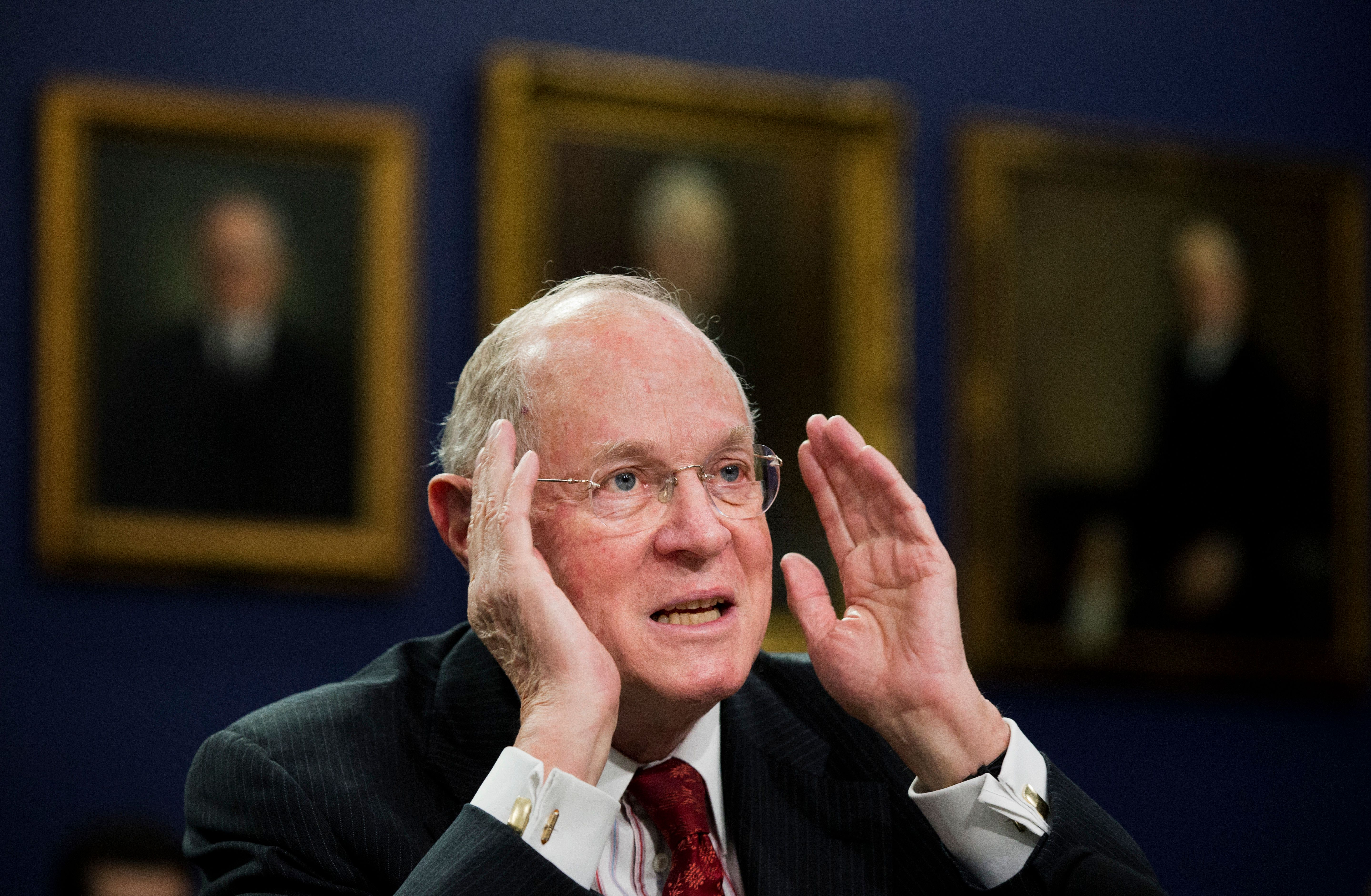 Supreme Court Associate Justices Anthony Kennedy testifies on Capitol Hill in Washington, Monday, March 23, 2015, before a House Committee on Appropriations subcommittee on Financial Services hearing to review the Supreme Court's fiscal 2016 budget request. (AP Photo/Manuel Balce Ceneta)