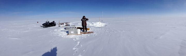 The ice was drilled in Greenland before being transported back to the lab for analysis.