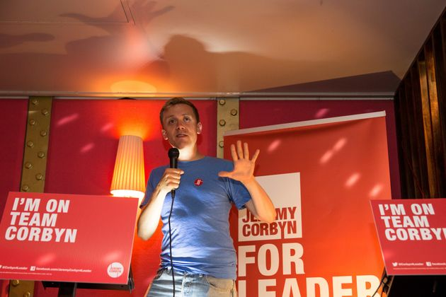Writer Owen Jonesannounces policy ideas for young people at a rally in support of Jeremy Corbyn...