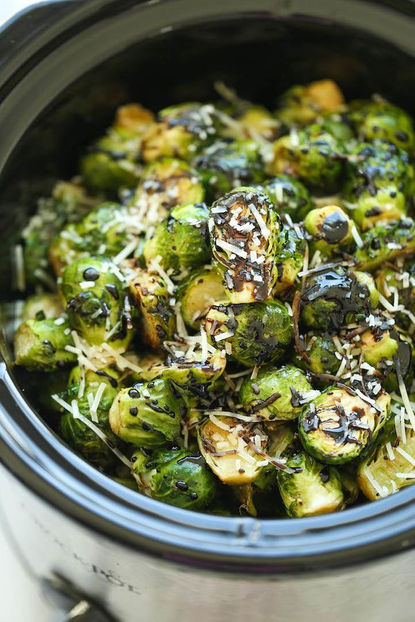 "<strong>Get the <a href=""http://damndelicious.net/2015/10/31/slow-cooker-balsamic-brussels-sprouts/"" target=""_blank"">Slow Coo"