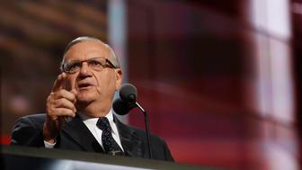 Joe Arpaio, Sheriff of Maricopa County, Arizona speaks during the final day of the 2016 Republican National Convention at Quicken Loans Arena in Cleveland, Ohio, July 21, 2016.  (Photo by Brian van der Brug/Los Angeles Times via Getty Images)