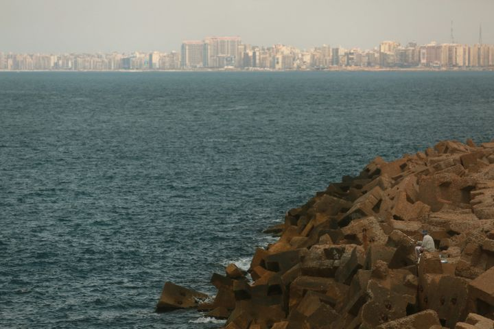 At least 29 people died after a migrant boat capsized off the coast of Egypt. Pictured here, the Egyptian coastline of the Me