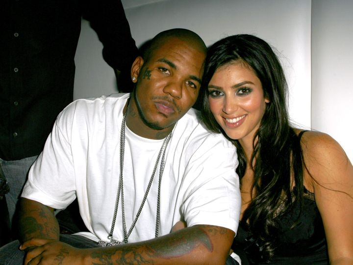 The Game and Kim Kardashian during Paris Hilton's CD Release Party at Privilege.