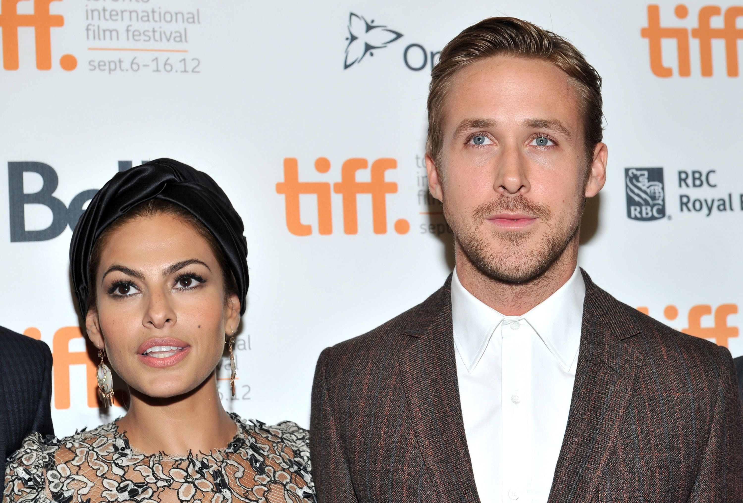 TORONTO, ON - SEPTEMBER 07:  Actors (L-R) Eva Mendes and Ryan Gosling attend 'The Place Beyond The Pines' premiere during the 2012 Toronto International Film Festival at Princess of Wales Theatre on September 7, 2012 in Toronto, Canada.  (Photo by Sonia Recchia/Getty Images)