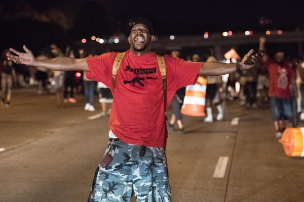 Protesters block traffic on the I-85 interstate.