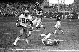 Drew Pearson caught the original Hail Mary, a 50-yard touchdown pass from Roger Staubach in a 1975 playoff upset over the Min