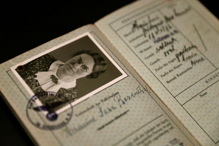 The old German passport of Hermine Sara Rosenthal, the grandmother of London rabbi Julia Neuberger, is seen at the West Londo