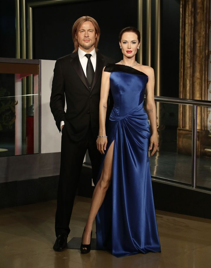 Brad Pitt and AngelinaJolie's wax figures before they were moved apart following news Jolie had filed for divorce.&nbsp