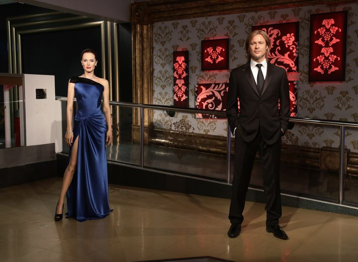 The wax figures of Brad Pitt and Angelina Jolie after they were moved apart at Madame Tussauds London.