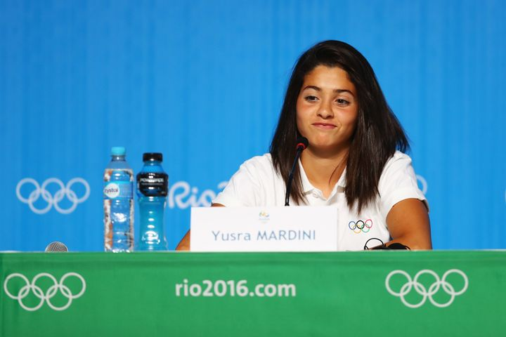 RIO DE JANEIRO, BRAZIL - JULY 30: Yusra Mardini, a Syrian swimmer, who now represents the team of Refugee Olympic Athletes (R