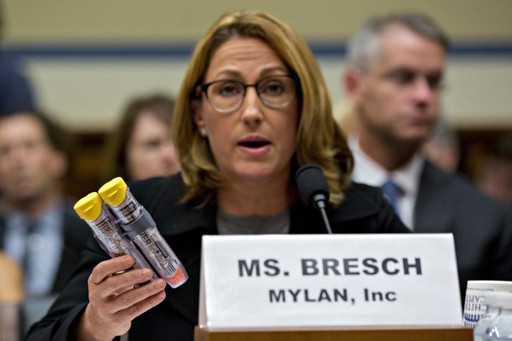 Mylan CEO Heather Bresch holds up Mylan's EpiPen medication while speaking during a House Committee on Oversight and Governme