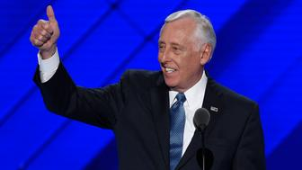 Steny Hoyer gestures as he arrives to speak during Day 1 of the Democratic National Convention at the Wells Fargo Center in Philadelphia, Pennsylvania, July 25, 2016. / AFP / SAUL LOEB        (Photo credit should read SAUL LOEB/AFP/Getty Images)