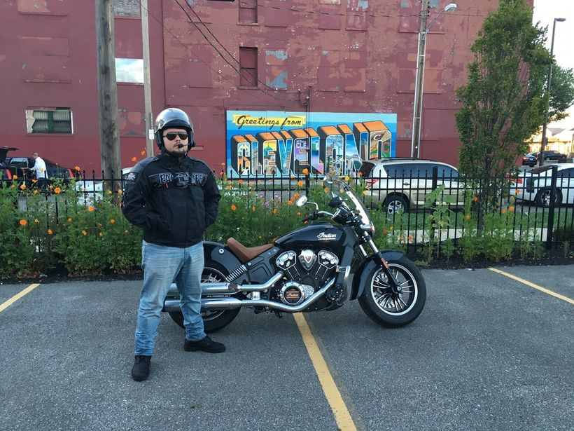 Me posing way to seriously with the 2016 Indian Scout in Cleveland, OH. Taken on Garmin Virb Ultra 30.